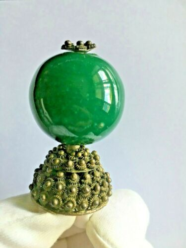👍 19TH CENTURY CHINA CHINESE QING MANDARIN EMERALD HAT RANK BADGE FINIAL 大清官帽顶