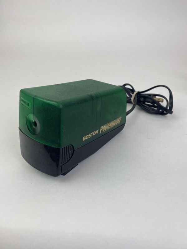 BOSTON Electric Powerhouse Pencil Sharpener Green  and Black - Model 19 - Retro