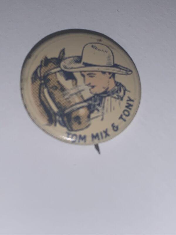 Vtg Original Antique Tom Mix & Tony ( Horse ) Pinback Button 1930's / 1940's