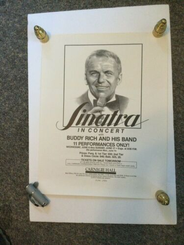 FRANK SINATRA IN CONCERT WITH BUDDY RICH CARNEGIE HALL BLACK /WHITE COPY POSTER