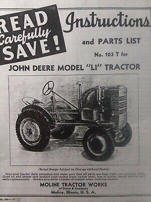 John Deere Agricultural Farm 1945 Li Tractor Owner Service Parts List Manual