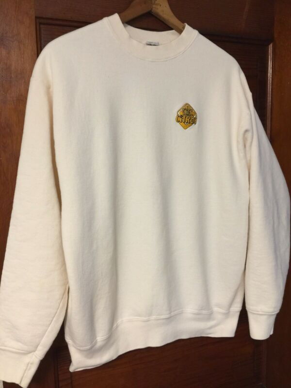 Vintage Canadian Club Whiskey Sweatshirt XL Crew Embroidered Logo Ivory Heavy
