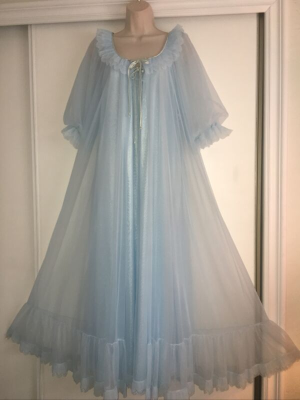 BEAUTIFUL 2pc Vintage TOSCA Blue  CHIFFON Nylon NIGHTGOWN Peignoir Robe SET ~Med