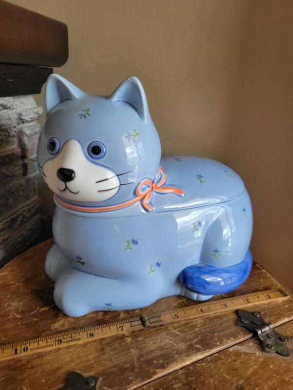 """Vintage Otagiri Japan Whimsical CAT Ceramic COOKIE JAR Blue Floral 9"""" x 9"""""""