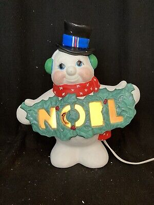Vintage Style Light Up Christmas Ceramic Snowman with NOEL banner