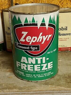 Old FULL Zephyr Metal 1 Quart Motor Oill Can Antifreeze Michigan
