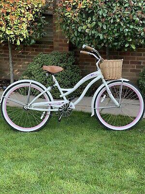 "CHEETAH Ladies californian Beach Cruiser Bike 26"" White / Pink"