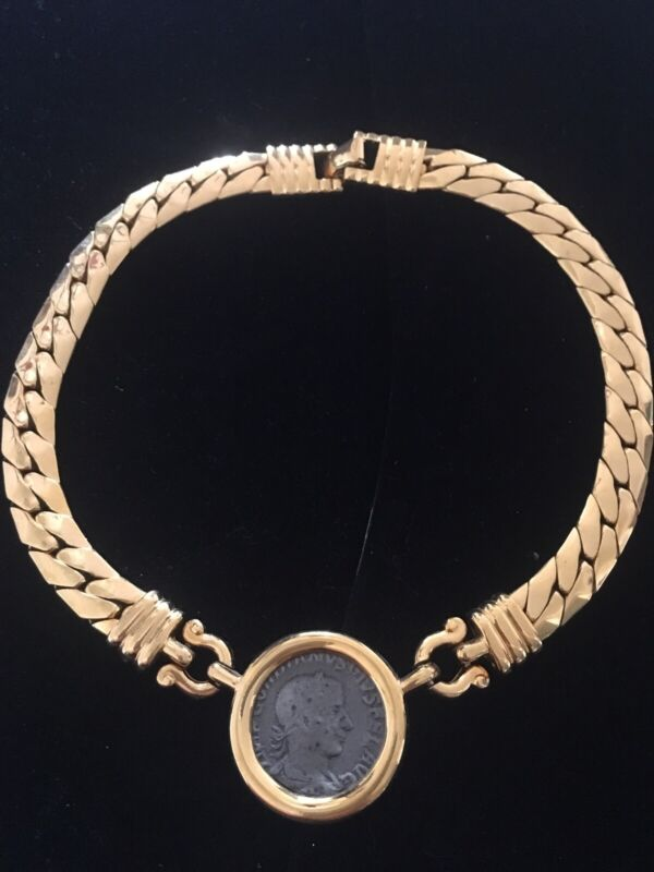 Carolee 1980's Gold Plated Vintage Roman Coin Necklace