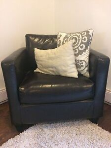 Faux leather arm chair - dark brown