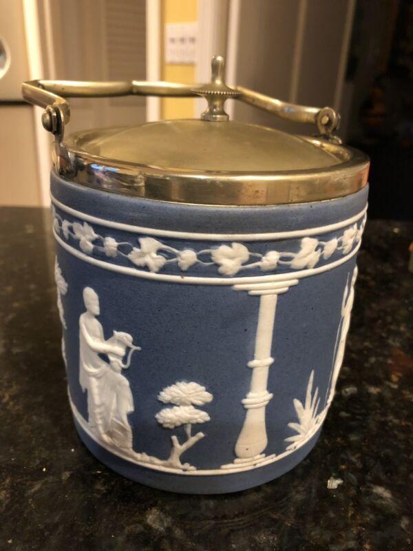 Antique Jasperware Pottery Silverplate Biscuit/Cookie Jar/Basket Wedgwood Style