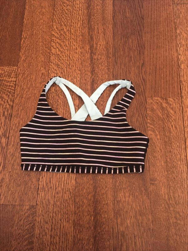 Ivivva by Lululemon Girls Reversible Sports Bra Black Striped /Aquamarine, Sz 10