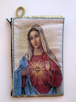 Icon of Sacred Heart of Mary Tapestry Bag, Zippered Purse