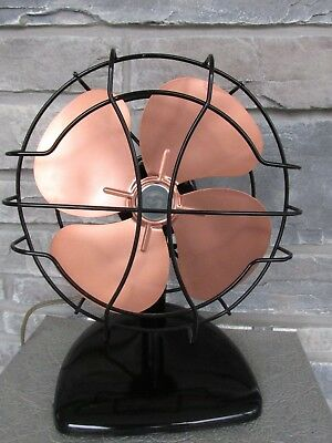 "Vtg Handsome Superior Electric Fan Black & Copper 8"" blade Custom Paint Refurb"