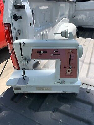 VTG Pink Singer Touch And Sew Sewing Machine Deluxe Zig Zag 626 METAL GEARS 1966
