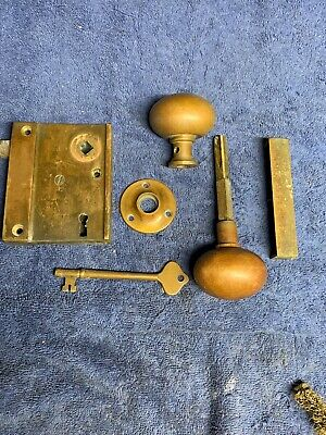 Vintage GETTY 1102A Solid Brass Rim Lock Door Knob set with Keeper and Key -