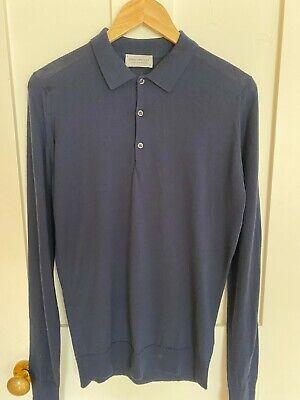 John Smedley Men's Long Sleeve Polo Shirt. Size Small. Navy Blue. Virgin Wool