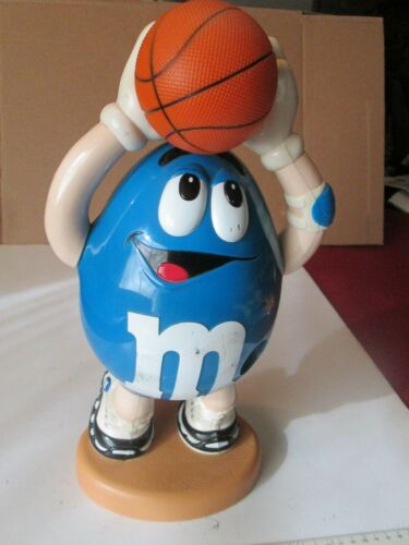 Candy Blue M&Ms Basketball Player Dispenser Pull Basketball Arm Down to Dispense