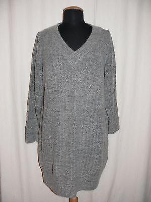 ONLY V-Ausschnitt Pullover TRUST DEEP V-NECK DRESS KNIT grau XL TOP ()