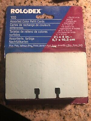Vtg Rolodex Refill Cards File Pastel Blue Pink Yellow 2 14 X 4 Unlined Office