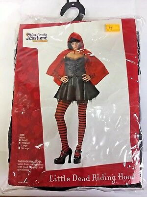 Little Dead Riding Hood Halloween Full Costume Women's Adult L Red Black Sexy](Black Riding Hood Costume)