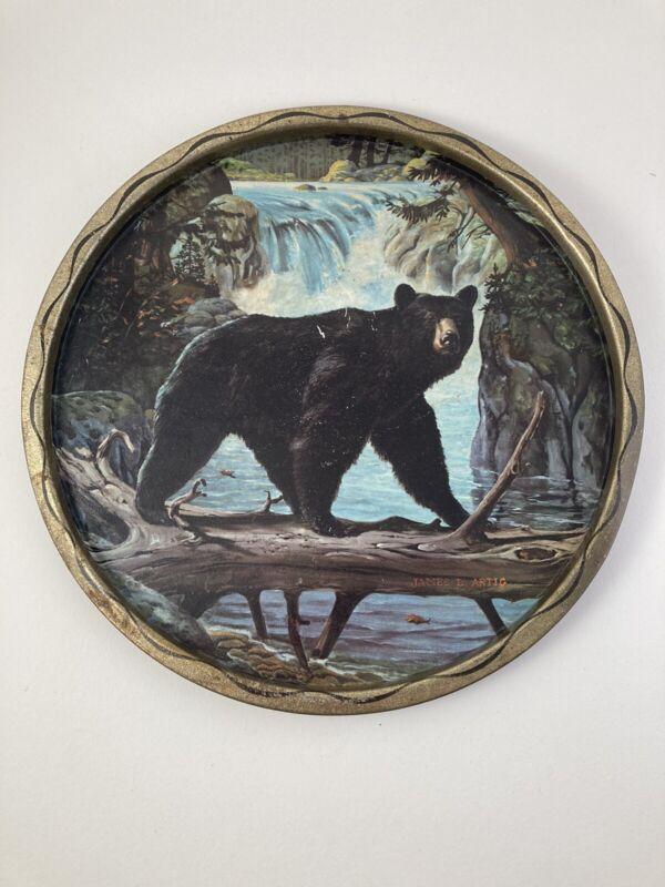 Vtg James L Artig Black Bear Over River on Log Metal Tray Man-cave Cabin Decor