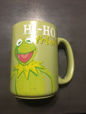 "Used Disney Muppets Kermit the Frog ""Hi Ho Friends"" Coffee Mug Cup Green 14 oz."