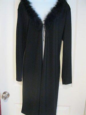 NO APPOINTMENT NECESSARY knee length layering coat w/fuzzy boa neck SZ L/XL NWOT](Fuzzy Boa)