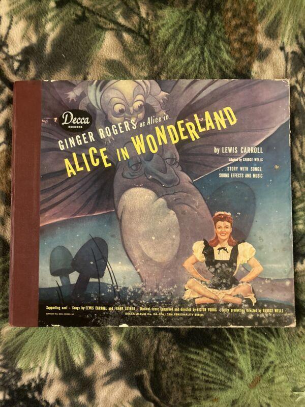 Vintage 1944 Alice In Wonderland Ginger Rogers 3 Record Albums Book Decca