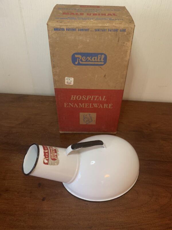 Vintage Male Urinal Bed Pan REXALL Hospital Enamelware White Porcelain W/ Box