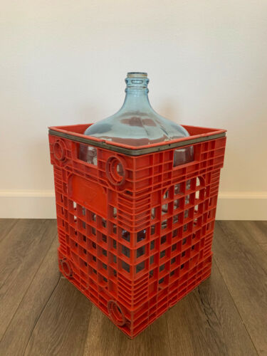 Vintage Sparkletts Water Carboy 5 Gallon Glass Jug & Crate #6