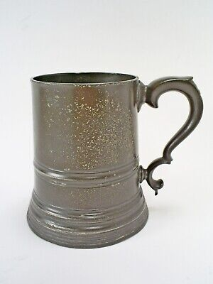 FINE ANTIQUE VICTORIAN ENGLISH PEWTER 1 PINT TANKARD WITH GLASS BOTTOM 565 g