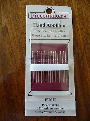 Sharps Hand Needles - 1 NEW pkg Hand Applique Sewing Needles Sharps Size 12 Pack/20 by Piecemaker