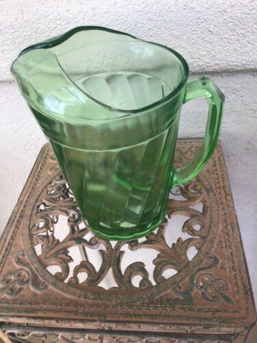 "Green Uranium Vaseline Depression Glass Pitcher Hazel Atlas Swirl Glass 8"" Tall"