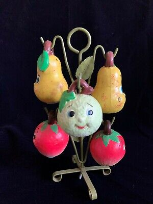 Vintage Anthropormorphic Fruit Salt and Pepper Shakers on Wire Tower - Set of -