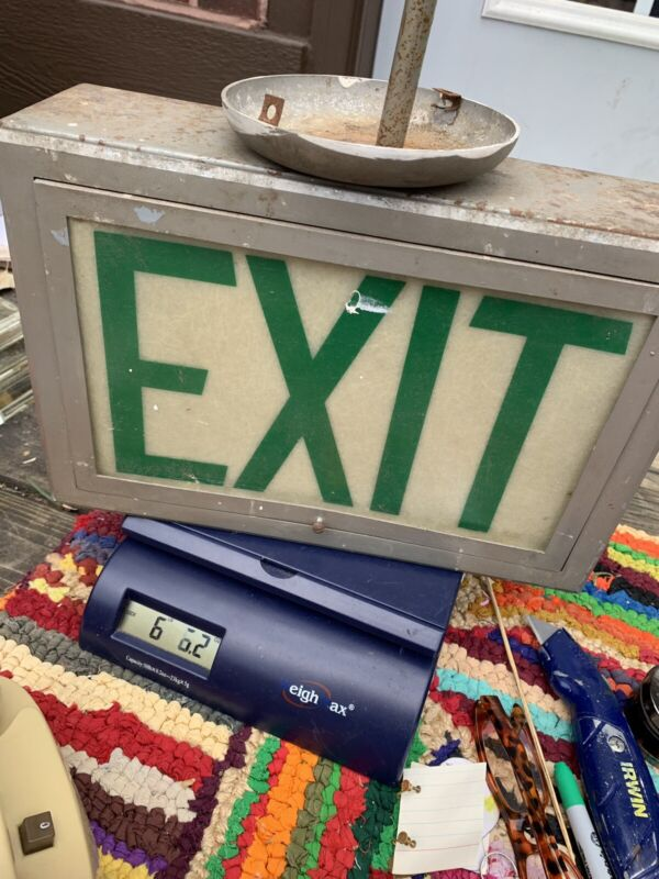 Vintage Haunted House School Exit Sign Halloween Scary Hell Hanging evil