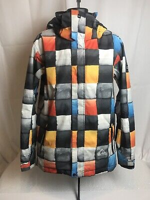 Quicksilver Ski/ Snowboard Jacket Square Pattern Used Once