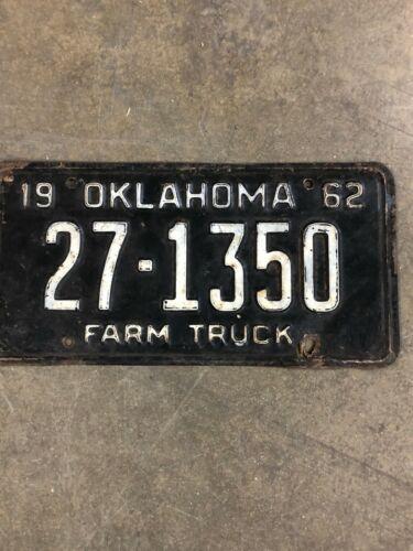 1962 Vintage Oklahoma License Plate 27-1350