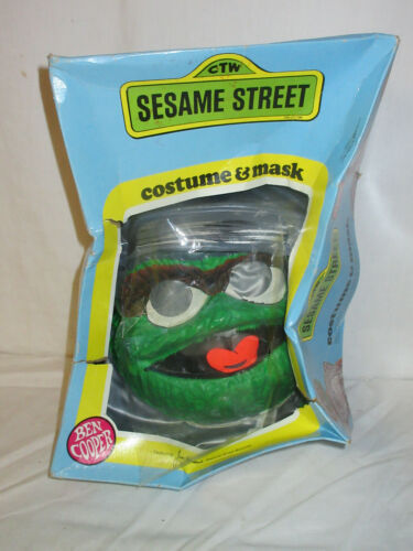 VTG! OSCAR THE GROUCH Sesame Street Costume Mask Ben Cooper HALLOWEEN Kids (WB1)