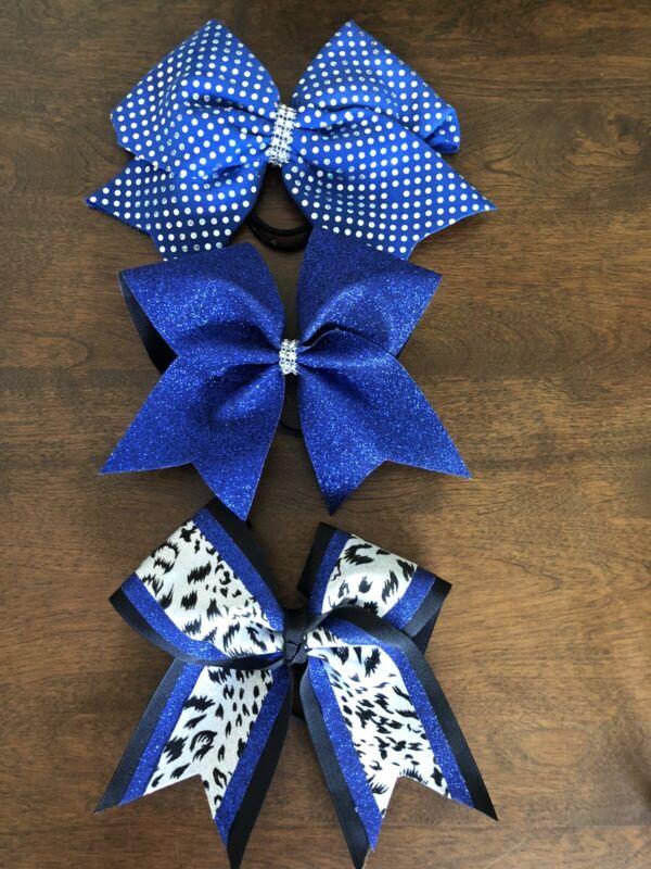 Cheer Hair Bow Lot Of 3 Cheerleading Hair Bows Stiff Blue