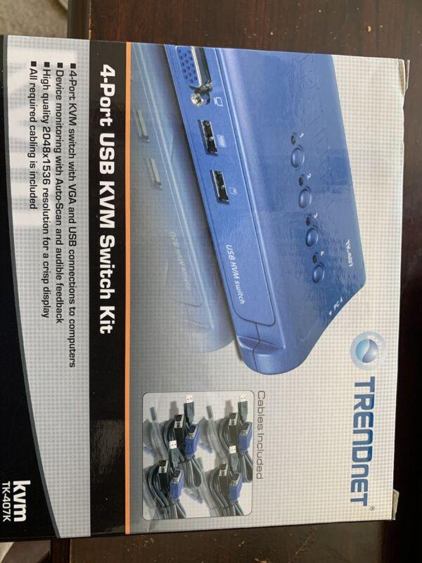 TRENDnet TK-407K 4-port USB KVM Switch Kit (Include 4 x KVM Cables)