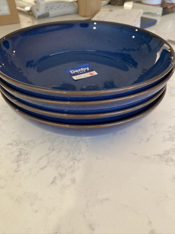 """Set of 4 Denby IMPERIAL BLUE Pasta Bowls, 8.5"""", NWT"""