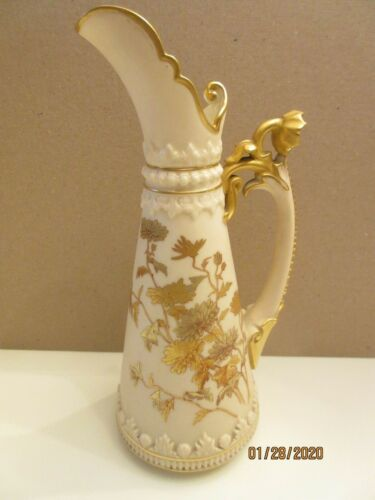"""STUNNING ROYAL WORCESTER TAPERED 8 1/2"""" EWER, FLORAL BUD HANDLE, DATED 1888"""