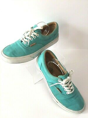 VANS California Authentic Leather Low Top Turquoise Lace Up Plimsoll Trainer £52