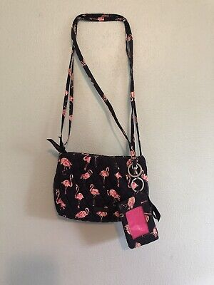 Vera Bradley Small Crossbody Navy Blue Pink Flamingos With Lanyard And ID Wallet