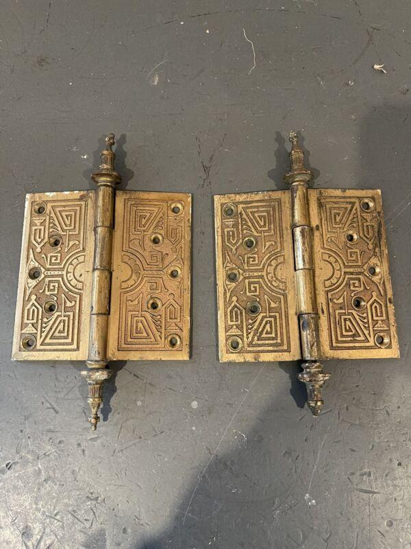 Pair Aesthetic Brass Church Steeple Tip But Antique Door Hinge