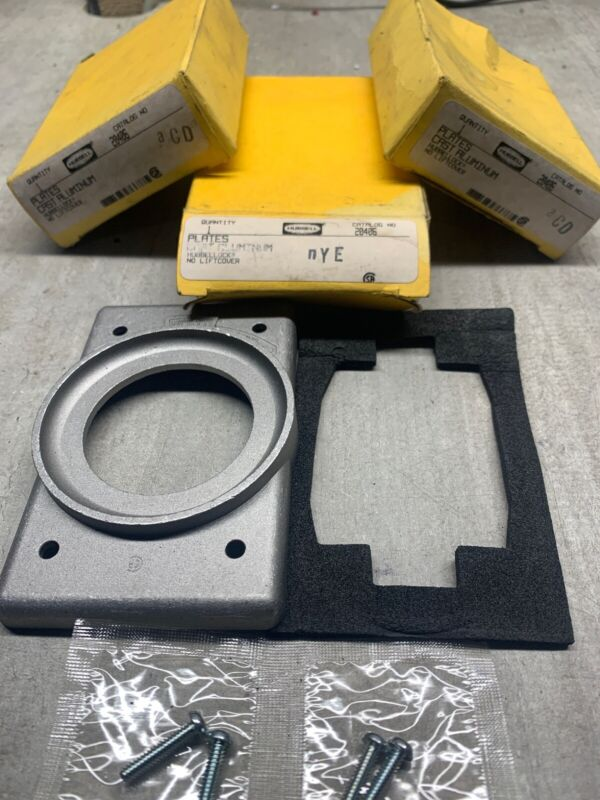 NEW! [LOT OF 3] HUBBELL [20406] Cast Aluminum Plates Without Lift Cover