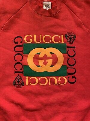 Vintage 90s Fruit Of Loom Men's Size Large Bootleg Red Gucci Crewneck Sweatshirt
