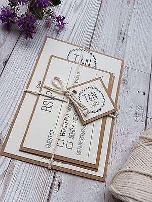 Rustic Kraft Wedding Invitation SAMPLE Set Wedding Stationery Recycled paper](Wedding Stationery Sets)