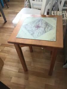 Single side table with tile top.