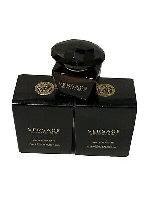 (2) Pieces Lot Versace Crystal Noir by Gianni Versace EDT .17 oz Mini